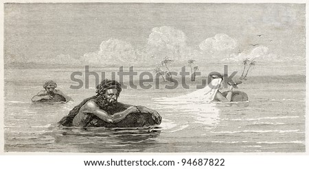 Babylonian people using life-preservers to float on Tigris river. Created by Neuville after Lejean, published on Le Tour du Monde, Paris, 1867 - stock photo
