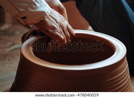 BAC Ninh, Vietnam, June 30, 2016 ceramic clay traditional arms, Phu Lang pottery village, Bac Ninh Province, Vietnam