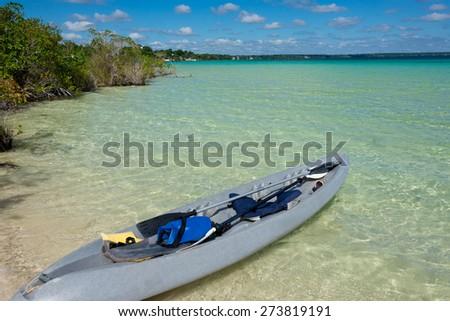Bacalar Lake at Riviera MAya, Quinatana Roo. Kayak Tour. - stock photo