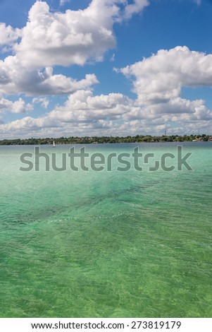 Bacalar Lake at Riviera MAya, Quinatana Roo. Sailing Tour. - stock photo