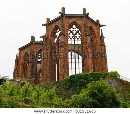 Bacharach Wernerkapelle. Bacharach is a town in the Mainz-Bingen district in Rhineland-Palatinate, Germany. Rhine Valley is UNESCO World Heritage Site - stock photo