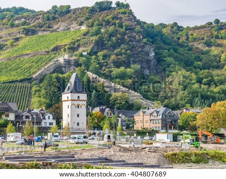 BACHARACHA, GERMANY - OCT 4: View of Bacharach am Rhein in Germany on October 4, 2013. Bacharach is a town in Rhineland-Palatinate, Germany, lying in the Rhine Gorge, a UNESCO World Heritage Site.