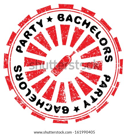 Bachelors party abstract grungy stamp isolated on white - stock photo