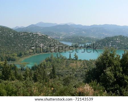 Bacina lakes in Croatia, nearby Adriatic sea. Dalmatia. - stock photo