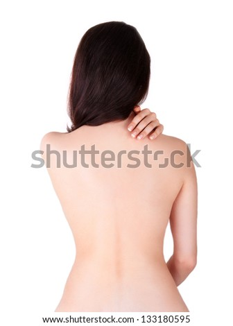 Back ache massage, Woman view from behind - stock photo