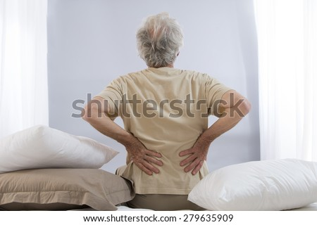 back ache senior man - stock photo