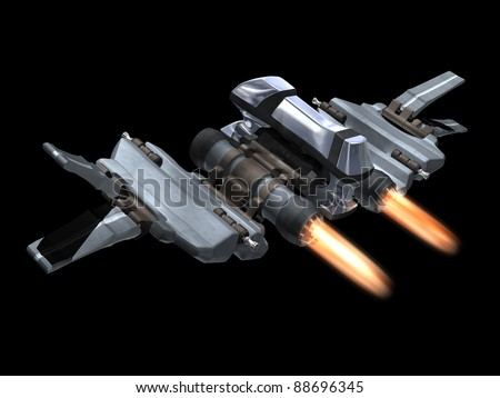 Back and above view of a StarFighter in action with a black background - stock photo
