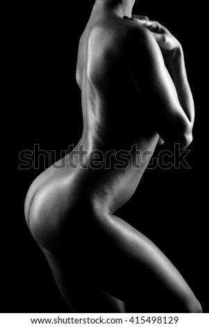 back and butt naked women on a black background