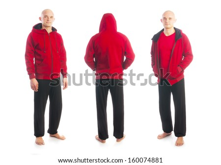 Back and front view of young bald man in sport red jacket with zipper holding hands in pockets isolated on white background, full length shot - stock photo