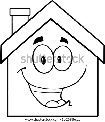 Back And White Happy House Cartoon Mascot Character. Raster Illustration - stock photo