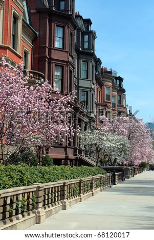 Back Bay and neighboring Beacon Hill are considered Boston's most upscale and desirable neighborhoods - stock photo