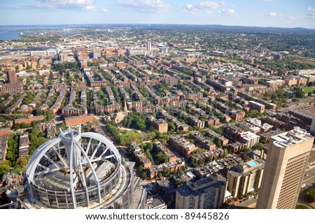 Back Bay apartment Aerial view in Boston, from top of Prudential Center, USA - stock photo