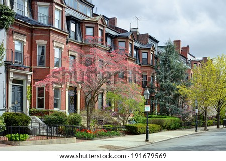 Back Bay Boston in the spring - stock photo