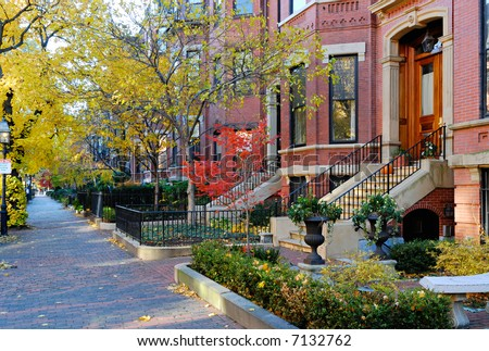 Back Bay, Boston. Upscale residential district in the fall. - stock photo