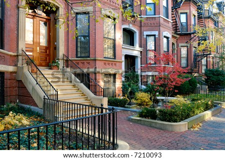 Back Bay brownstones in the fall - stock photo