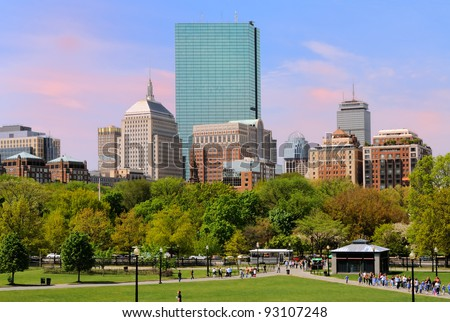 Back Bay from Boston Common - stock photo
