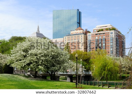 Back Bay from Boston Public Garden in the spring - stock photo