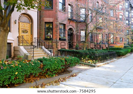 Back Bay residential district - stock photo