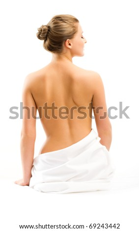 Back beautiful woman on white background