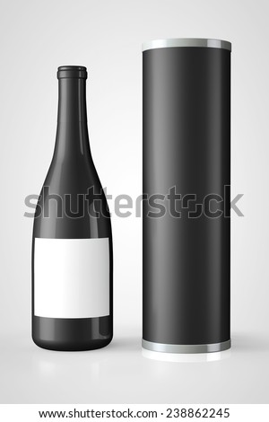 Back Bottle of Red Wine with Package on a white background