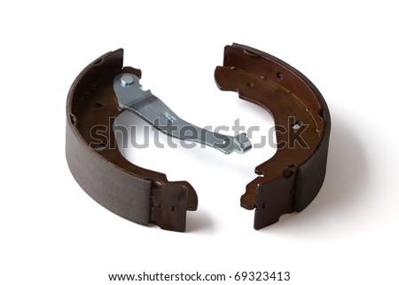 Back brake blocks isolated on a white background - stock photo