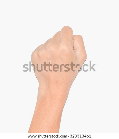 back buff skin fist vertical hand symbol isolate