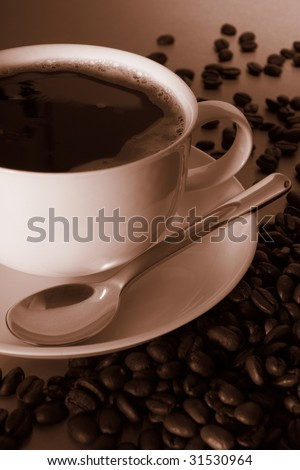 Back coffee and coffee beans sepia tone - stock photo