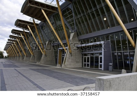 Back entry way for Richmond Olympic oval. - stock photo