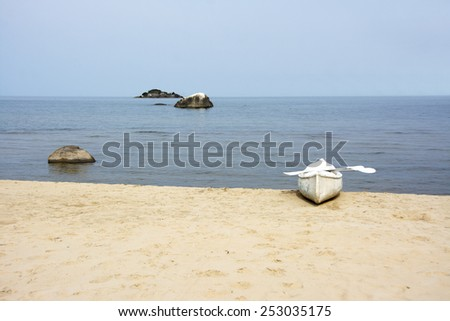Back From Rowing to the Nearest Island, Lake Malawi, Malawi, Africa - stock photo