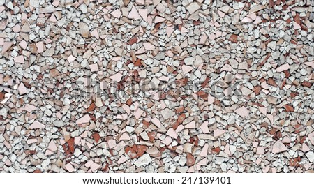 Back ground of debris made of broken bricks and concrete  - stock photo