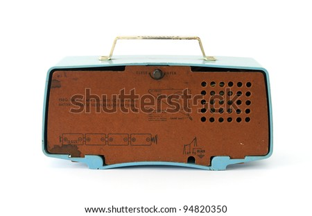 Back grungy retro radio on  isolated white background - stock photo