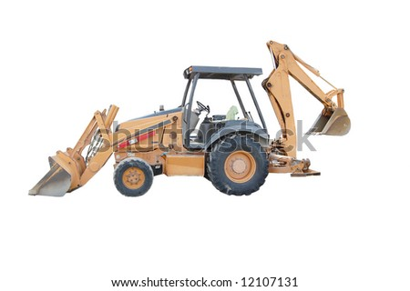 Back Hoe isolated on white - stock photo