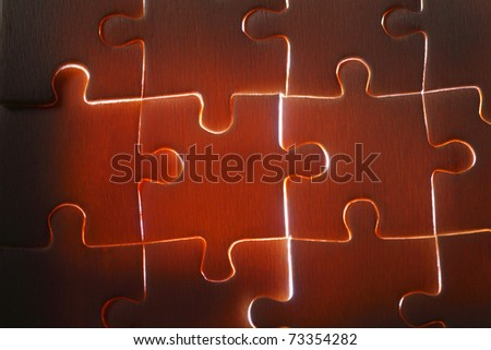 back light of the jigsaw puzzle - stock photo