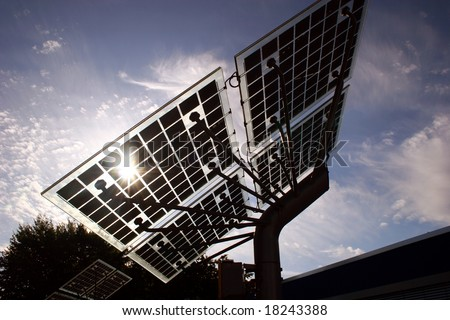 Back lighted Solar panels - stock photo