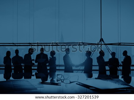 Back Lit Business People Corporate Cityscape Handshake Concept