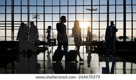 Back Lit Business People Traveling Airport Passenger Concept - stock photo