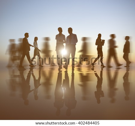 Back lit Business People Working Corporate Concept - stock photo