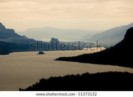 back lit Columbia River Gorge - stock photo