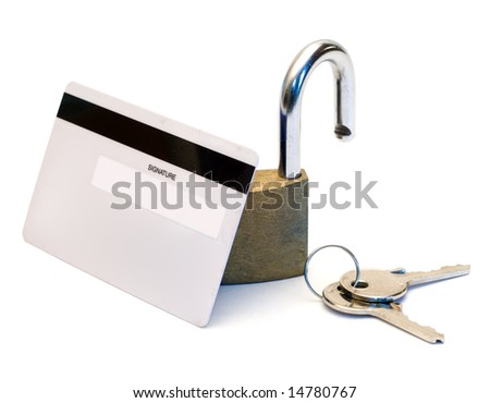 Back of a bank card with an open padlock isolated on a white background