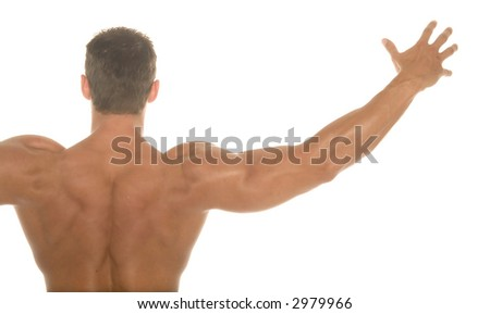 Back of a body builder - stock photo