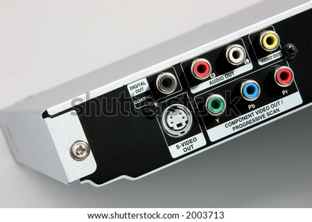 Back of a DVD player with connections for cables