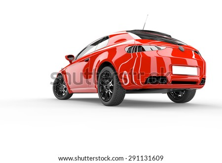 Back of a generic red sport car isolated on a white background