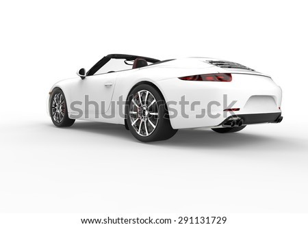 Back of a generic white sport car isolated on a white background