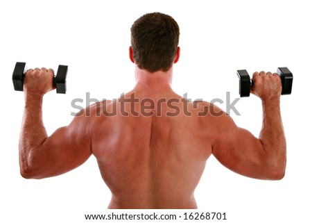 Back of a Man Working Out on Isolated Background - stock photo