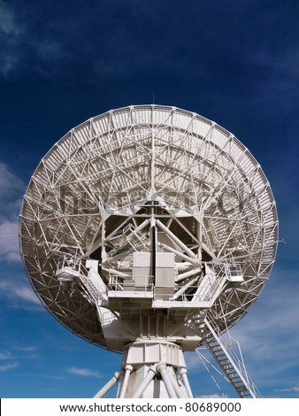 Back of a massive radio satellite dish at the Very Large Array (VLA) in New Mexico, USA - stock photo