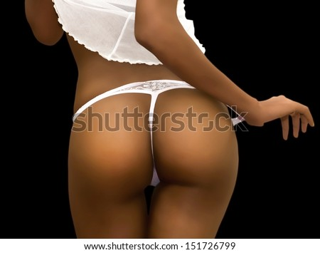Back of a Sexy Dark Skinned Woman in Lingerie