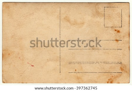 Back of a vintage photo - postcard. Rich stain and paper details. Can be used as background. - stock photo