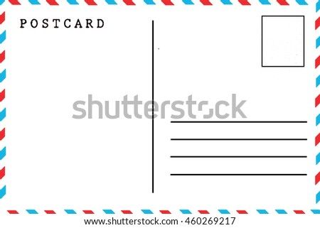Back Airmail Blank Postcard Template Stock Photo Royalty Free
