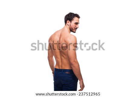 back of an atletic man on white background - stock photo
