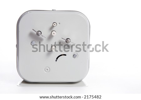 Back of an old vintage wind operated alarm clock - stock photo